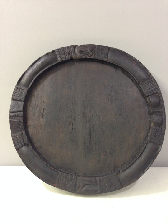 African Nigeria Old Yoruba Wood Divination Tray Handmade Tribal Carved Wood Tray Unique Home Carved Wood Priests Ceremonies