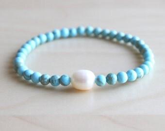 Turquoise mala bracelet / boho bracelet / elastic stone bracelet / pearl bracelet