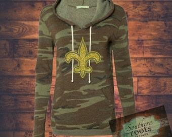 CAMO fleur de lis sweatshirt New Orleans Saints inspired- glitter!