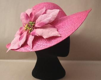 Stunning Vintage Straw Hat With Pink Leaf Trim