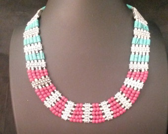 Red and turquoise beaded necklace with earrings