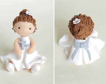 Christening, Baptism, Communion Birthday Girl polymer clay cake topper & keepsake