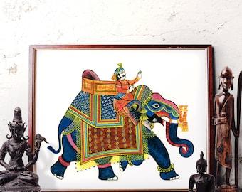 Elephant Wall Art, Traditional Indian Elephant Watercolor Painting, Elephant Home Decor, Bohemian Elephant Art Prints and Original Painting