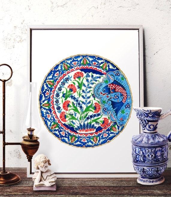 Turkish Home Decor: Blue Fish Watercolor Wall Art Turkish Floral Fish Home Decor