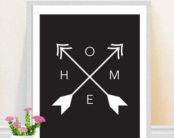 Home Print Typography Art Print Black and White Arrows Tribal Art Modern Minimalist Home Decor