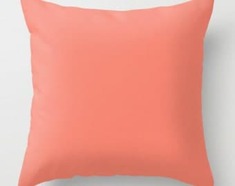 coral throw pillow pink decorative pillow 18x18 pillow cove sofa decor cushions - Coral Decorative Pillows