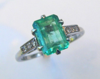 Emerald Edwardian Engagement Ring 'Varenne' EMERALD Diamond Engagement Ring Art Deco Emerald Cut custom ring diamonds White Gold