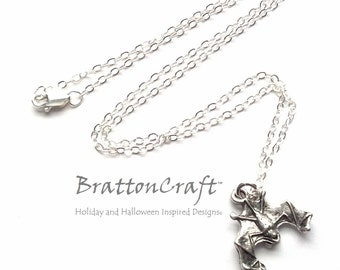 Hanging Silver Bat Necklace - Halloween Necklace - Bat Necklace - Halloween Jewelry - Bat Jewelry - Vampire Necklace - Epsteam