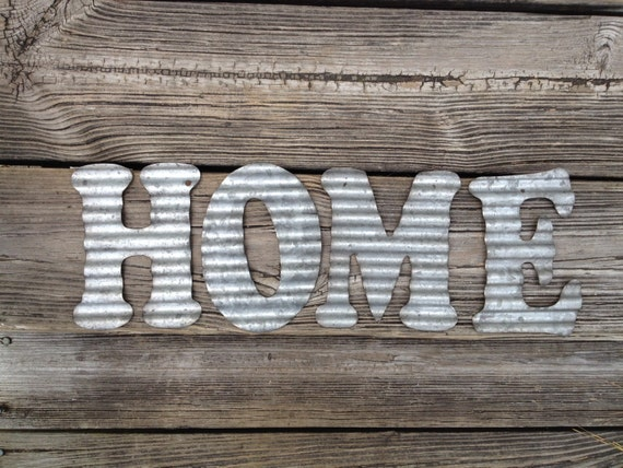 galvanized metal letters home industrial wall decor kitchen. Black Bedroom Furniture Sets. Home Design Ideas