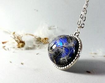 Dandelion wish necklace, botanical jewelry, dandelion pendant, resin pendant, blue sphere, eco friendly, crystal clear resin