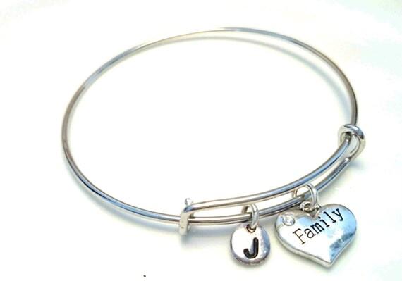 Family Bangle Bracelet Adjustable by GustavsDachshundShop on Etsy
