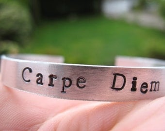 Carpe Diem Hand Stamped Bracelet Handstamped Seize the Day Metal Aluminium Shiny Customisable Unique Metal Bracelet Carpe Diem Latin