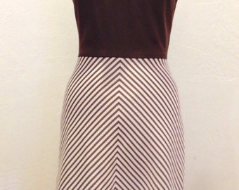 Vintage A-line Dress, 1960s, Brown, Small, Size 2-4