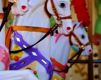 Carousel Photography.Amusement Park Ride.Vibrant Colors.Wildwood Boardwalk.New Jersey Pier.Nursery Decor.Carnival Pony.Fine Art Photography.