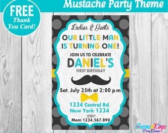 little man invitation little man birthday invitation little man first birthday mustache party - Mustache Party Invitations