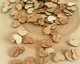 "100 Tiny ""Love"" Hearts ~ 0.5"" ~ Cute Little Wooden Hearts! Rustic Table Confetti, Wedding Table Scatter, Rustic Wedding Decor, Barn Wedding"