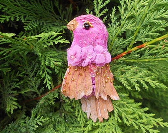 Bird Textile Brooch.Art Icon Pin.Handmade art brooch.OOAK bird jewelery brooch.