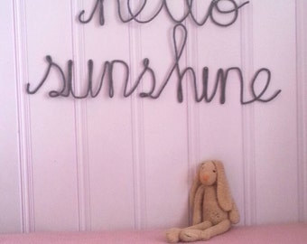 Large Sized Wire Word Art, Yarn Wire Words, Yarn Word Wall Art, Custom Wire Word Wall Art, Hello Sunshine Wall Sign, Grey Nursery Decor