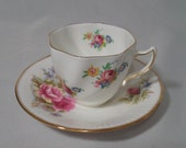 Queens Rosina Bone China Mismatched Collectible Teacup & Saucer SET ~ Different Pattern, Same Brand ~ Tea Parties, Shabby Roses Decor