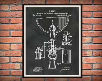 Patent 1884 Beer Bottling Apparatus - Beer Bottling Process - Art Print Poster - Wall Art - Beer Brewing - Tavern Art - Man Cave