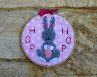 Embroidered bunny hoop art: Felt bunny rabbit, hand stitched on polka dot fabric