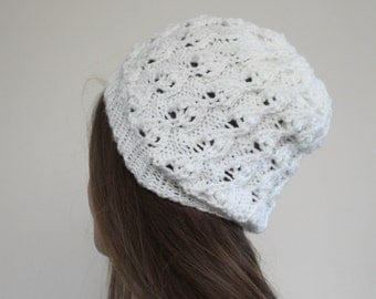 Lace Slouchy Handknit Beanie // Winter Hat { White }
