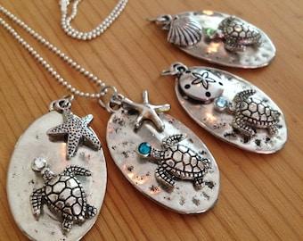 Sea Turtle Necklace Artsy Hammered Design Turtle Pendent/Beach Wedding Jewelry /Sea Turtle Jewelry/Beach Gift/ Sea Turtle Jewelry/Ocean Gift