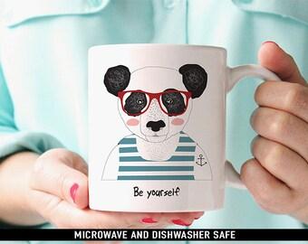 Coffee Mug Be Yourself Panda Bear with Glasses and Tattoo Coffee Mug
