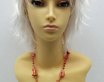 Short Layered Wind Blown Shag Style White Cosplay Wig. [11-62-Blsh-White]