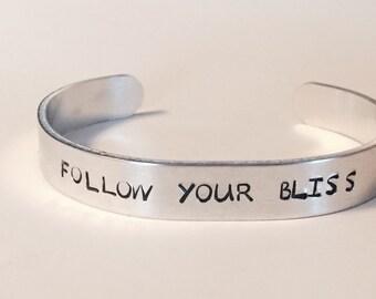 Customized Follow Your Bliss Inspirational Adjustable Bracelet Cuff