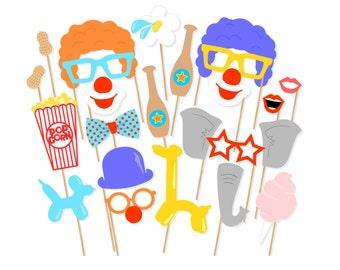 Printable Circus Photo Booth Props - Circus Birthday Props - Clown Photo Props - Carnival Birthday - Circus Birthday - Clown Birthday