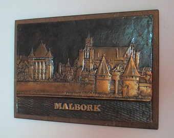 MALBORK (POLAND) PLAQUE - coppertone, lacquer, wood base, ready to hang - Hurry, before Vladimir Putin grabs it!