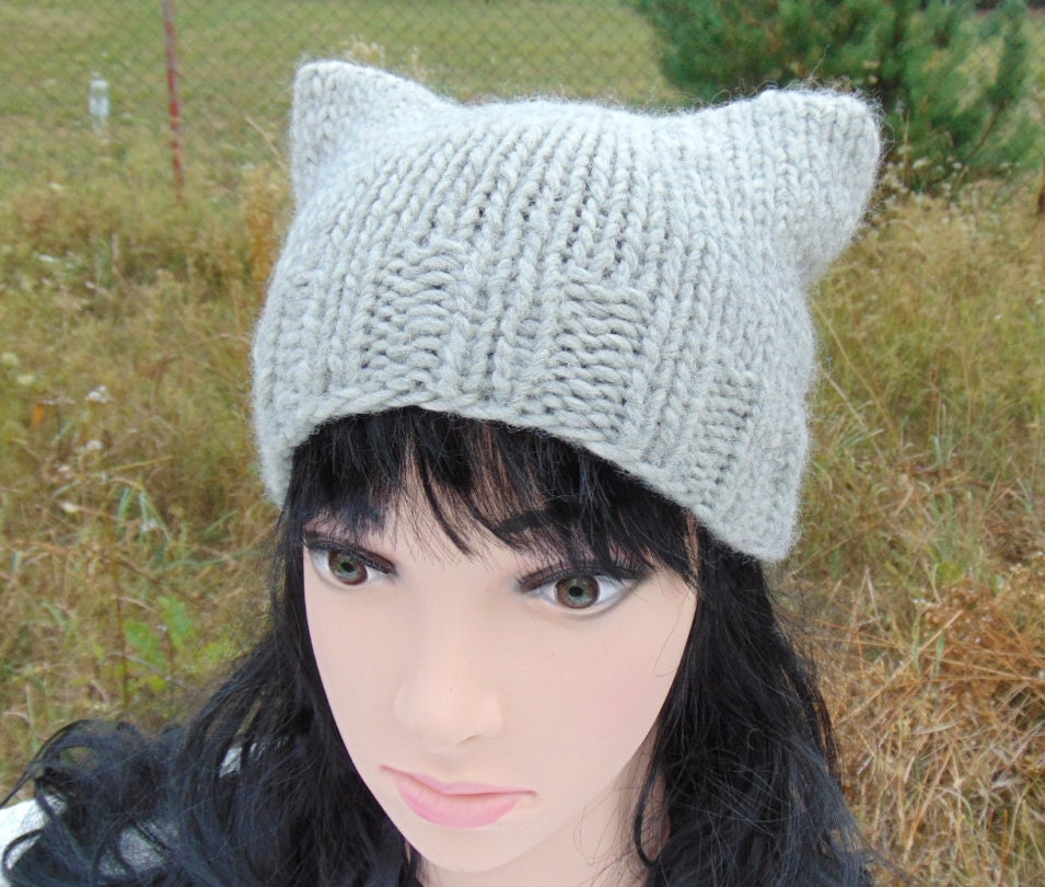 Knitting Patterns For Hats With Cat Ears : Cat Ears Hat Cat Ear Beanie Knited Square Cat Hat Knit Hat