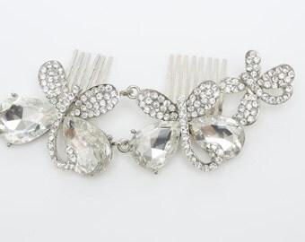 Wedding Hair Accessories, Crystal Hair Comb, Bridal Hair Comb, Wedding Hair Pins, Kirti Wedding Crystal Hair Comb