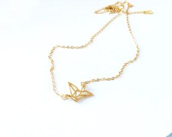 Gold Paper Crane Necklace 925 Silver Origami Crane Necklace Hallow Paper Crane Charm Necklace Simple  Everyday Wedding Bridal Birthday Gift