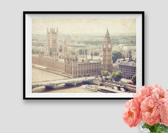 Vintage London Print Old London Photography Instant Download Wall Art Printable London Big Ben Print Panorama Photo
