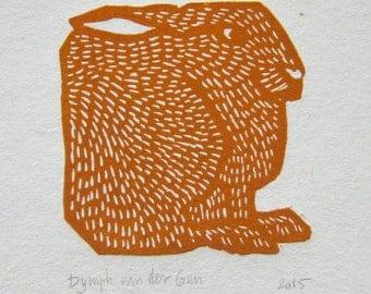Hare linoprint, orange or blue