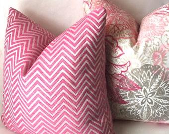 Pink Chevron Throw Pillow, Hot Pink Geometric Sofa Pillow Covers, Decorative Pillows, Housewares Decor, Pink Cushion Covers, Chevron Pillows