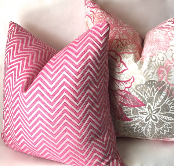 Etsy Pink Throw Pillow : Pink Chevron Throw Pillow Hot Pink Geometric Pillow Covers