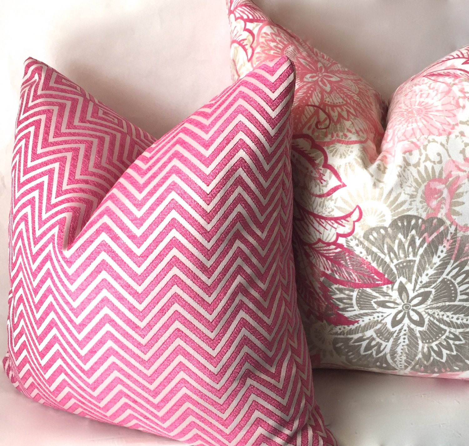 pink chevron throw pillow hot pink geometric pillow covers. Black Bedroom Furniture Sets. Home Design Ideas