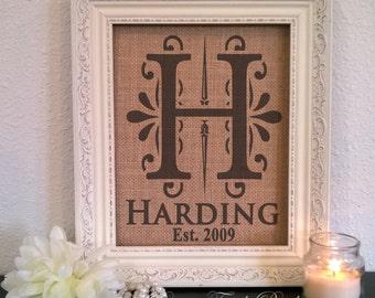 Burlap Wedding, Personalized Wedding Decor, Wedding gift, Burlap Last name sign, Wedding present, Rustic wedding decor, Burlap name sign