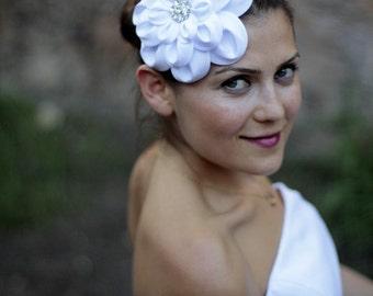 White taffeta flower headpieces, hair accessories, wedding hair flower,bridal accessories,bridal hair accessories