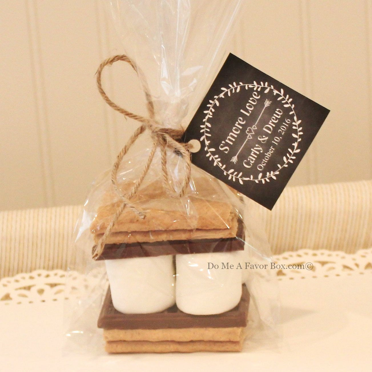 S 39 mores favor kits 24 smore love s 39 mores wedding for Wedding favor supplies