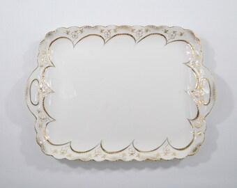 Antike Servierplatte Tablett Porzellan mit Goldrand Thüringen