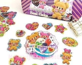 Glitter Flake Sticker Sacks. Cute Kawaii Bears Stickers. Filofax KIKKI.K Erin Condren Life Planner Journal Album decorations scrapbooking