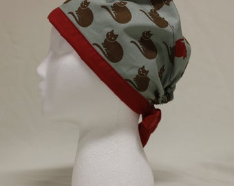 Brown and Red Cats Surgical Scrub Cap Chemo Dentist Hat