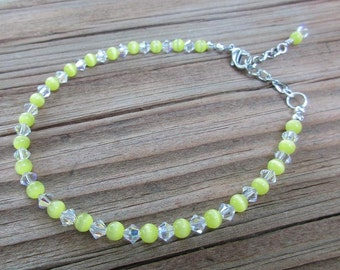 Yellow Cat's Eye Anklet