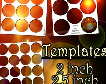 Templates 2, 2.5, 3 Inch Circles 8.5x11 sheets, PNG Photoshop Gimp file, DIY blank craft button cake topper jewelry