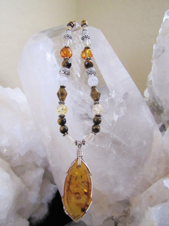 PERSONAL POWER Amber Pendant, Sedona, Reiki charged, Chakra Balance Metaphysical Jewelry for Self-Confidence and Abundance, Sterling Silver