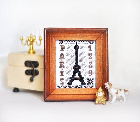 Miniature cross stitch paris souvenirs on france embroidery like this item publicscrutiny Images